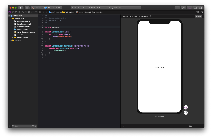 Hello World - SwiftUI preview